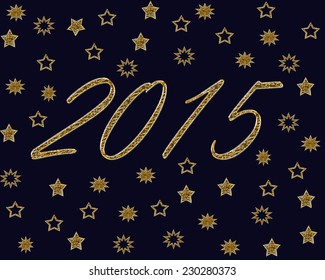 Golden stars with year on midnight blue background