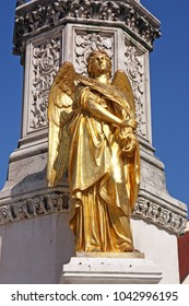 Golden statue of angel near Cathedral of Virgin Mary, Zagreb, Croatia