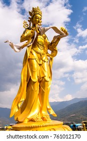 Golden statue around the Big Buddha statue in the Kingdom of Bhutan