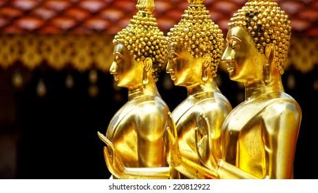 golden statue of Buddha, golden temple, Chiang Mai, Thailand