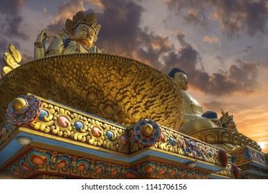 golden statue of Chenrezig stands in Kathmandu. Nepal