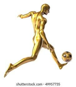 Golden statue of football player