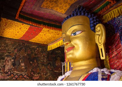 The golden statue of Shakyamuni Buddha at Shey Palace Monastery, Ladakh, India.