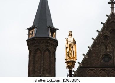Golden Statue and Tower in The Hague, Holland, The Netherlands