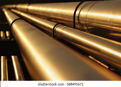 golden steel pipe line connection in crude oil factory
