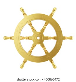 Golden steering wheel for ship isolated on white background. 3d ships wheel rendering