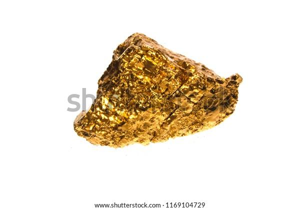 Golden Stone Isolated On White Background Stock Photo Edit