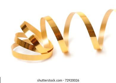 Golden streamer over white background