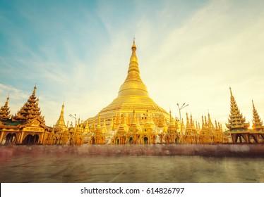 The golden stupa of the Shwedagon Pagoda Yangon (Rangoon), Landmark of Myanmar or Burma.