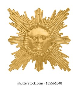 golden sun emblem isolated on white background