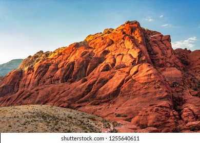 Golden sun light on rock formation at Red Rock Canyon National Conservation Area in Nevada, USA