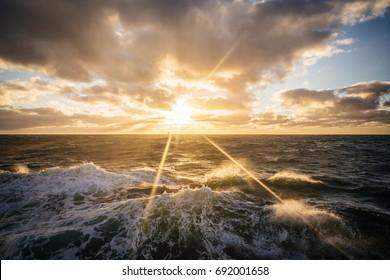 Golden Sun over the Drake Passage, Antarctica