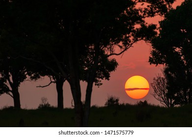 The golden sun sets on the plain of Khao Yai National Park, Thailand, magical sunspots, ripple clouds across the sun, red flairs going out from the sun.