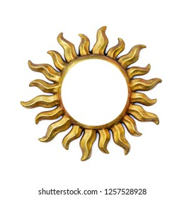Golden sun shape frame with sunrays isolated on white. Wooden decor ornament template symbol painted on gold paint. Summer weather and heat sign
