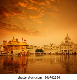 Golden sunlight at Golden Temple in Amritsar, Punjab, India.