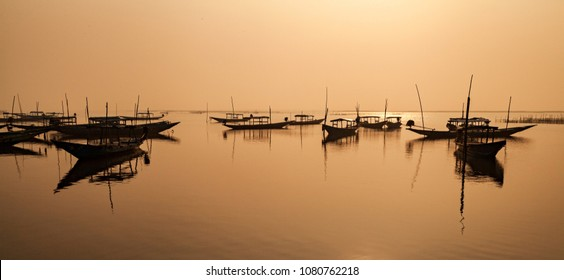 Golden Sunrise at the Asia's Largest Salt Water Lake in Chilika, Odisha, India