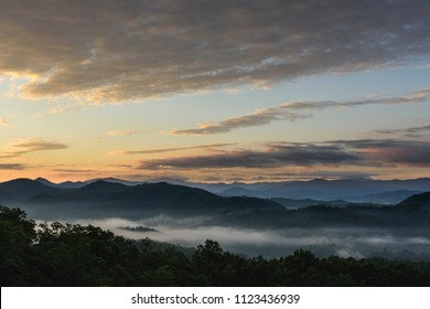 Golden Sunrise with Clouds and Fog - Smoky Mountains