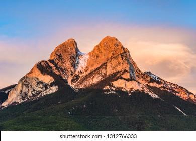 Golden sunrise at the Mountain of Pedraforca.