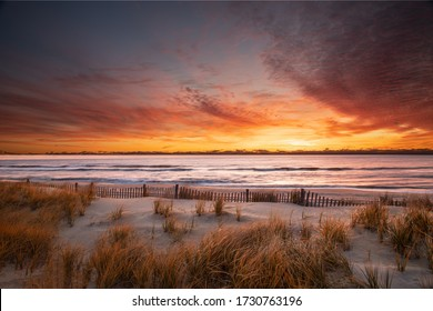 Golden sunrise over the beach at Pearl Sreet in Beach Haven, NJ on Long Beach Island