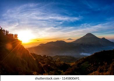 Golden Sunrise, Sikunir Hill, Dieng Plateau Central Java Indonesia