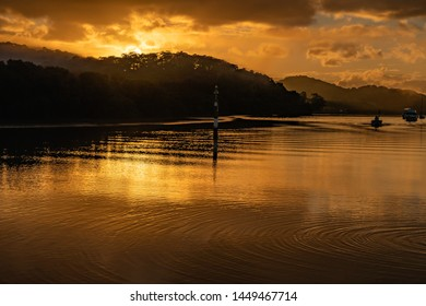 Golden Sunrise Waterscape - Woy Woy Waterfront on the Central Coast, NSW, Australia.