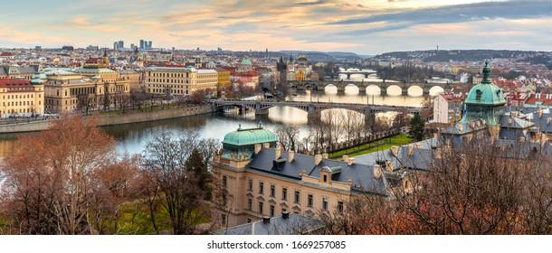 Golden Sunset above colourful city of Prague