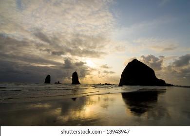 A golden sunset at Cannon beach, Oregon