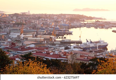 golden sunset in the city of Vigo, the largest city of Galicia in Spain