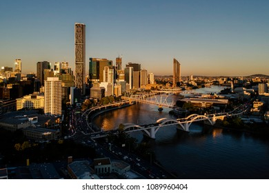 Golden sunset cityscape over Southbank and riverside. William jolly bridge over the Brisbane River. Brisbane, Queensland, Australia