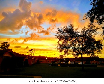 Golden sunset horizon