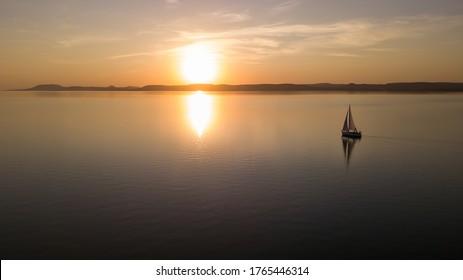 Golden sunset at Lake Balaton in Hungary, Summer in June
