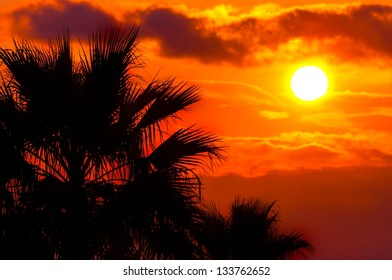 Golden sunset at a mediterranean area in warm colors