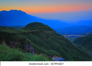 Golden sunset of mountain in north Taiwan