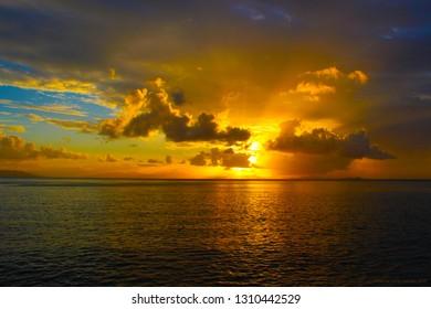 Golden Sunset on sea great barrier reef australia