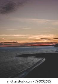 Golden sunset over the beach