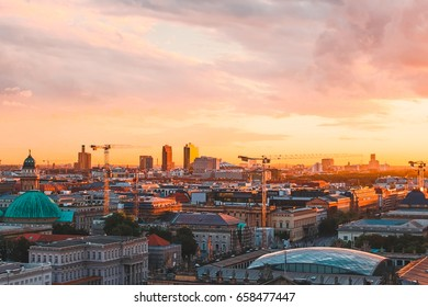 Golden sunset over the Berlin skyline, captured from the rooftop of Berlin Cathedral, September 2015.