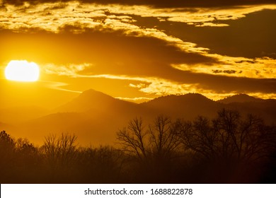 Golden sunset over the foothills of Colorado