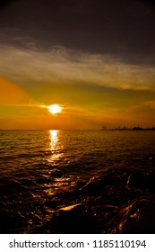 Golden Sunset Over Manila Bay Philippines