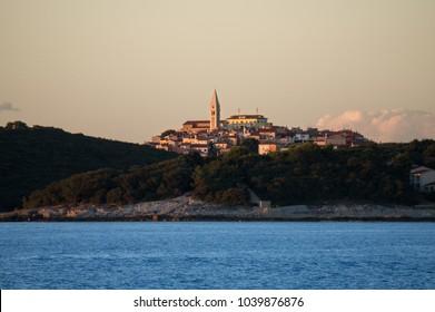 Golden sunset over the town of Vrsar