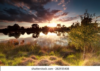 golden sunset over wild lake, north Brabant, Netherlands