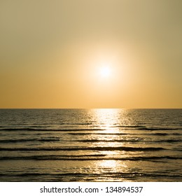 Golden sunset in sea