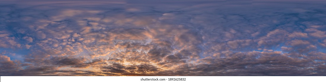 Golden sunset sky panorama Seamless spherical equirectangular 360-degree view with beautiful Stratocumulus clouds, setting sun - for use in 3D graphics as a sky dome or post-processing of drone images