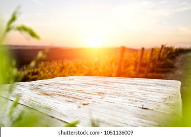 Golden sunset time and spring landscape. Free space for your decoration on wooden retro board place.