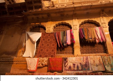 Golden sunset view of shopping street in the fort of Jaisalmer, Rajasthan, India.