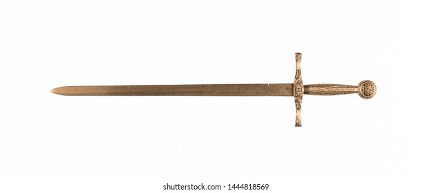 golden sword isolated on white background