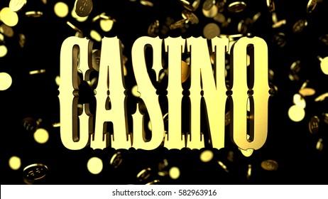 Golden symbol Casino with coins on black background. 3d render illustration