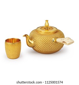 golden tea pot and glass on white background
