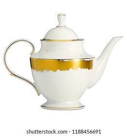 Golden teapot. antique teapot isolated on white background. luxury white with golden kettle