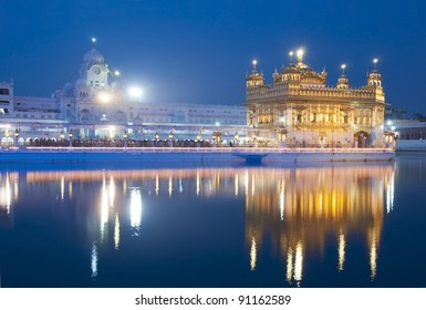 Golden Temple of Amritsar, India, night view