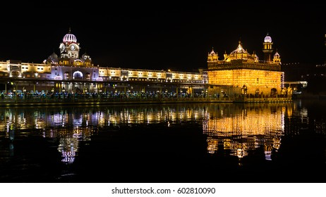 Golden Temple in Amritsar at night, India